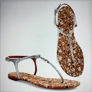 Tory Burch Silver Marion Thong Sandals.  Size 8.